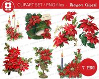 Christmas Poinsettia Clipart, Vintage Christmas Graphics, Digital Clipart, Vintage Christmas PNG, Clip Art for Cards, Crafts