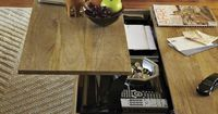 Secret stasher. The top of the Rustic Storage Coffee Table pops up to reveal a boatload of hidden storage. Lofted on airy steel legs, the solid mango wood body has enough room to stow anything from toys and remotes to pillows and throws. Each table is sub...