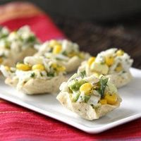 Corn & Crab Salad Tortilla Cups, easy no-bake appetizer or snack for the Super Bowl, tailgating, or any party!