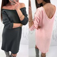Fashion Womens Solid O-Neck Sweater Casual Long Sleeve Pullove Backless Dress $36.00