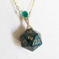 Scarab Exoskeleton Widow Wraped D20 Necklace in by Mortivoreium