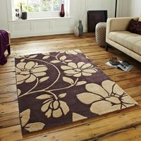 Floral 06 Brown Beige Rug
