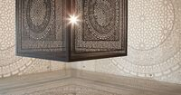 This enormous laser-cut wood cube projects beautiful shadow patterns onto surrounding gallery walls. Learn more about Anila Quayyum Agha's installation 'Intersections' on Colossal. http://www.thisiscolossal.com/2014/02/intersections-an-ornatel...