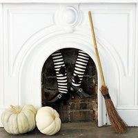 Witch Stockings Fireplace Decoration could be fun also to do this with santa legs