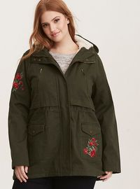 Embroidered Sherpa Lined Anorak Outerwear Jacket, DEEP DEPTHS