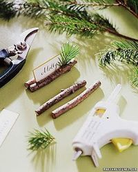 "Angela Carteaux says ""use cinnamon sticks"" to make very festive place cards! Brilliant!"
