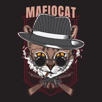 Mafia cat | Premium Vector.