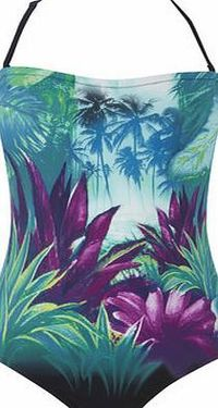 Bhs Womens Black Multi Jungle Placement Print Tummy This swimsuit has an attractiveplacementprint with control mesh to provide a flattering shape across the tummy and waist. With a detachable strap it can be worn either as a halter neck or strapless. ...