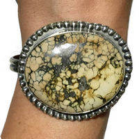 Chunky Bohemian Silver Cuff Bracelet with Variscite Gemstone and Vintage Silver Patina $89.96