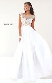 White Off Shoulder Gown by Sherri Hill 11151