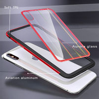 Luphie Protective Case For iPhone XR/XS/XS Max Gradient Color Scratch Resistant Tempered Glass+Aluminum+TPU Back Cover