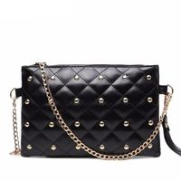 Women Rivet Chain Quilted Crossbody Purse Evening Clutch PU Leather $22.14