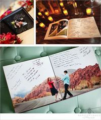 Turn engagement photos into a book and have guest sign instead of a boring guest book. interesting idea