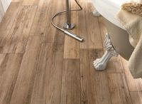 medium rough wooden floor tiles in bathroom - Ariana Ceramica Italiana