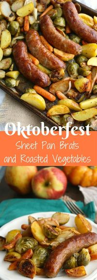 Who's interested in a low-fuss, fall-inspired meal? I know I am, and my Oktoberfest Sheet Pan Brats with Roasted Vegetables recipe offers great fall flavors, ea