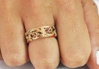 18K Rose Leaves Band Wedding Flower Band in Rose Gold, Six Variations of 1 and 2 Tone Solid Gold $950.00