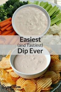 Make this dip for your next get together. The recipe uses just 2 ingredients that you probably already have in your fridge. Click through to get the Easiest (and Tastiest) Dip Ever on Super Mom - No Cape!