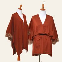 Sweater poncho, fringe trim shawl, rust color cardigan, cherry tassel cape, burgundy poncho, lady fall poncho, sweater duster, midi poncho, $39.99