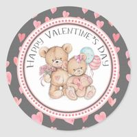 Sweetheart Bears Valentine's Day Heart Classic Round Sticker