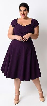 Make your next formal occasion even more special when you wear this Stop Staring! eggplant swing dress from Unique Vintage. With a look that's straight out of the 1950s, high quality construction and a fit that's perfectly modern, this dress d...