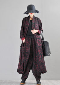 Red Jacquard Cotton Cardigan-Ladies Tops-Retro Cute Cotton Tops-Coat Coats-Mother's Day Gifts-Plus Size Trench Coats $123.00