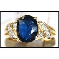 Cocktail Eternity Blue Sapphire Diamond 18K Yellow Gold Ring [RS0155]