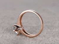 7MM ROUND CUT AQUAMARINE SOLITAIRE ENGAGEMENT RING 14K ROSE GOLD 6-PRONGS
