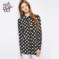Must-have Vogue Solid Color Chiffon Polka Dot Fall 9/10 Sleeves Blouse - Bonny YZOZO Boutique Store
