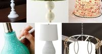 white and burlap rosette lamp DIY | green and bone lamp | aqua and white lamp base makeover | honeycomb table lamp | caged desk lamp DIY | metal circles hanging lamp