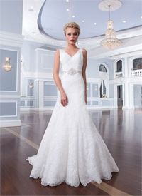 A-line Off the shoulder V-neck court train lace beaded white Wedding Dress