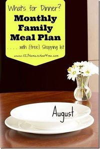 Meal Planning: August Menu with weekly shopping list