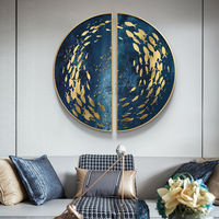 Gold art set of 2 wall art Sea Navy blue Ymipainting Gold fishes ocean 2 piece wall art framed wall art abstract painting on canvas original $449.00