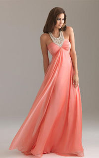 Waisted Jeweled Neckline Coral Crystal Empire Long Evening Dresses