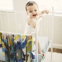 organic cotton baby blanket in blue watercolor ikat -Candy Kirby Design