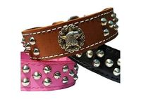 Studded Leather Dog Collar with American Eagle | Leather Dog Collar with Studs | Tapered, 1.5 in. wide. $54.99