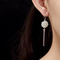 White Tian Jade Plum Blossom Earrings / Flower Earrings / Women 925 Silver Earrings