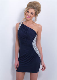 Navy Short Pleated One Shoulder Sequined Side Blush C164 Prom Homecoming Dress