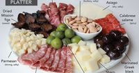 Antipasto, Italian for �€œbefore the meal,�€ is a traditional appetizer plate of cured meats, vegetables, olives, cheese and other finger foods.