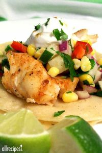 "Fiery Fish Tacos with Crunchy Corn Salsa | ""I make this all the time. People love it. It tastes like Summer."""