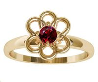 Gold Ruby Solitaire Ring Flower Ring Leaves Ring Branch Ring Art Nouveau Unique Engagement Flower Jewelry Engagement Gift 14K $349.00