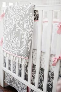 Pink and gray is modern, but also classic as seen in our Stella Gray Damask Baby Bedding Collection! This gray baby bedding is perfect for your gray nursery!