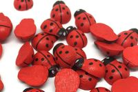 Pack of 100 Wood 3D Flat Back Red Ladybirds. 8mm x 11mm Wooden Ladybugs. £4.49
