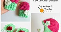 Free Crochet Pattern: Blooming Berry Baby Set of Mittens, Booties and Earflap Hat #myhobbyiscrochet