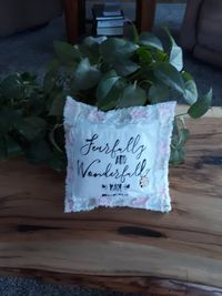 Fearfully and Wonderfully Made Pillow- Rag Quilt Pillow-Home Decor Nursery Pillow-Baby Girl Pillow-Neutral Tones Pillow-Calm Colored Pillow $45.00