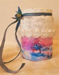 Winter Sunset Luminary Jar $8.00 - Another Unique Piece - One of a Kind so get it before someone else does! https://themountaindragonfly.com