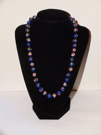 """Silver Stamped Chinese Floral Cloisonne Bead 20"""" Long Necklace $132.75"""