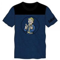 Charisma +4!! Fallout Men Adult Blue And Black Yoke Tee Bioworld Officially Licensed New $20.00