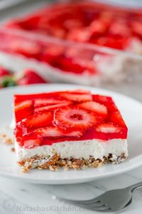 This strawberry pretzel salad is always a hit at parties. It's a strawberry jello dessert that is dangerously good! Sweet, salty, tart and irresistible!