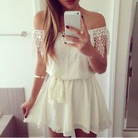 Women Off Shoulder Lace Dress Sexy Belted White Dresses Casual Beach 2017 Summer Chiffon $31.56