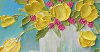 Spring Yellow Tulips and Sweet Heart Pink Roses, Painting, Yellow Tulip Oil Impasto, Tulip Painting, Wedding, Mothers Day
